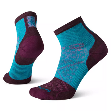 Women's Smartwool PhD Cycle Ultra Light Mini Sock in Blue and Purple