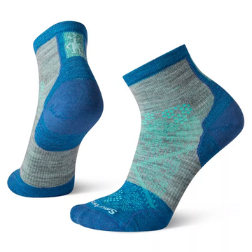 Women's Smartwool PhD Cycle Ultra Light Mini Sock in Blue and Grey