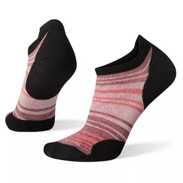 Women's Smartwool PhD® Run Ultra Light Striped Micro Sock in Black and Pink