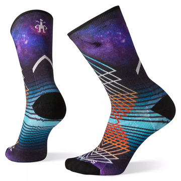 Women's Smartwool PhD Pro Endurance Print Crew Sock in Deep navy