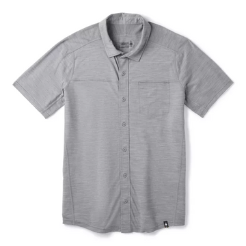 Men's Smartwool Merino Sport 150 Short Sleeve Button Down in Light Grey