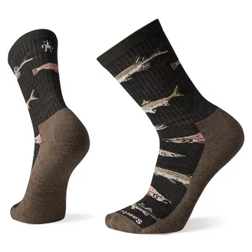 Men's Smartwool Hike Light Fish Pattern Crew Sock in Charcoal