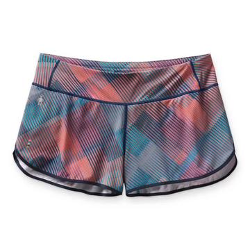 Women's Smartwool Merino Sport Lined Short in Ocean Abyss Plaid Print