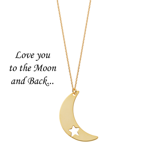 Love You to the Moon and Back <br> Necklace Gold Plated