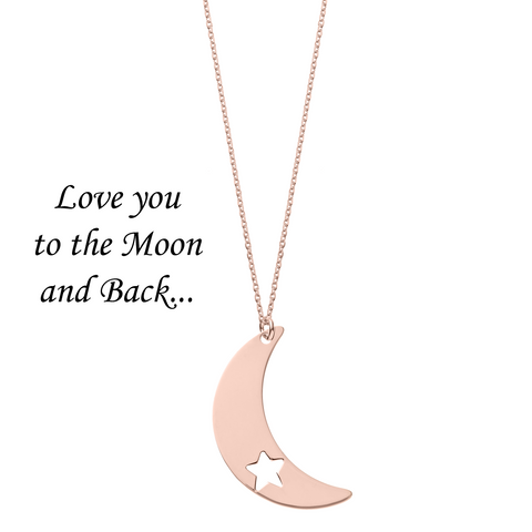 Love You to the Moon and Back <br< Necklace Rose Gold Plated