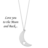 Love You to the Moon and Back <br> Necklace Silver