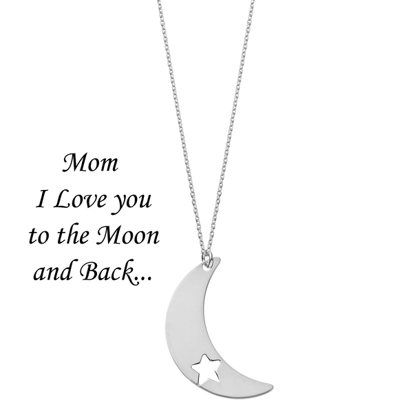 Mom I Love You to the Moon and Back <br> Necklace Silver