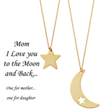 Mom I Love You to the Moon and Back <br> Necklaces Gold Plated