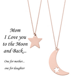 Mom I Love You to the Moon and Back <br> Necklaces Pink Gold Plated