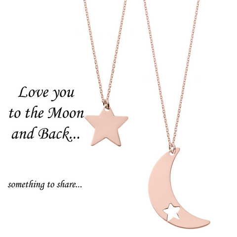 Love You to the Moon and Back <br> Necklaces Pink Gold Plated