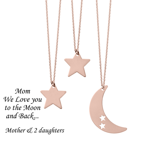 Mom We Love You to the Moon and Back <br> 3 Necklaces Pink Gold Plated