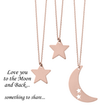 Love You to the Moon and Back <br> 3 Necklaces Pink Gold Plated