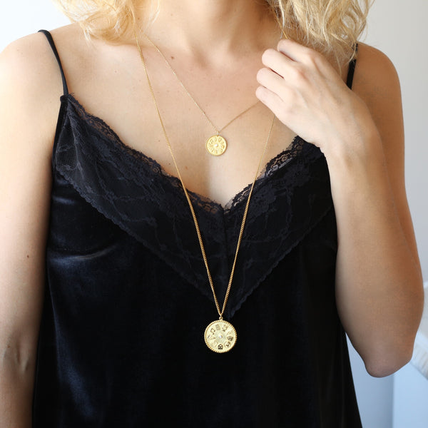 9 Muses Long Necklace <br> Gold Plated