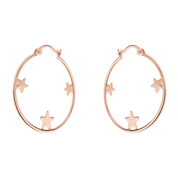 Star Hoops <br> Pink Gold Plated