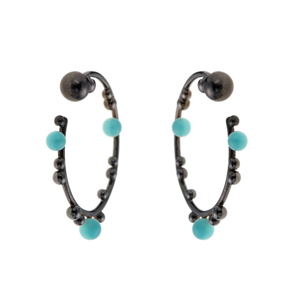 Dimitra Hoops black plated<br> Κρίκοι με τυρκουάζ