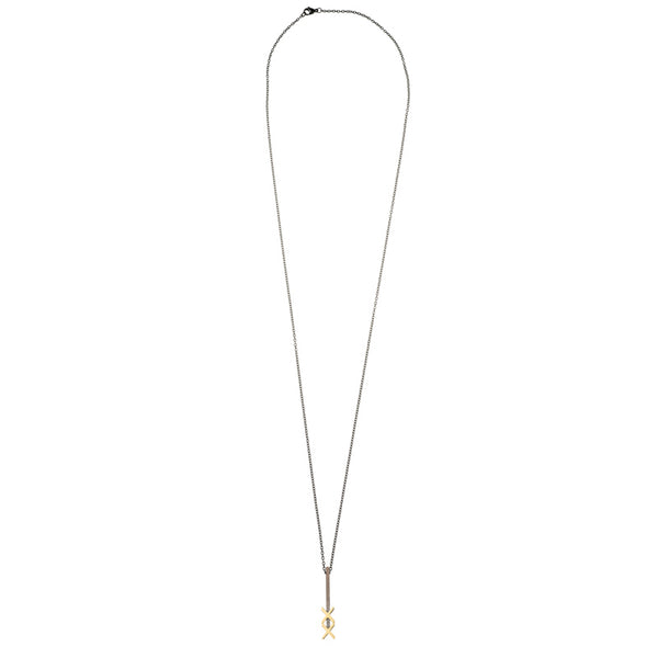 Lucky Stick <BR> Gold Black long necklace