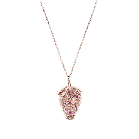 Strawberry Pink Gold Necklace <br> Κολιέ Φράουλα Ροζ Χρυσό
