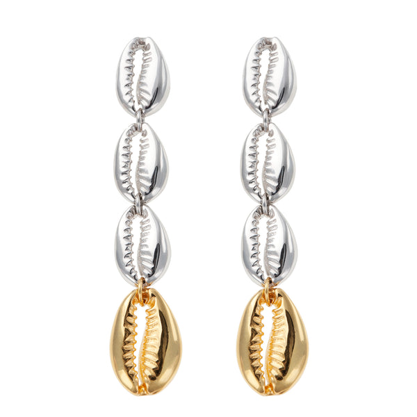 Amorgos Cowry Earrings Silver & Gold <br> Αμοργός Σκουλαρίκια με κοχύλι cowry