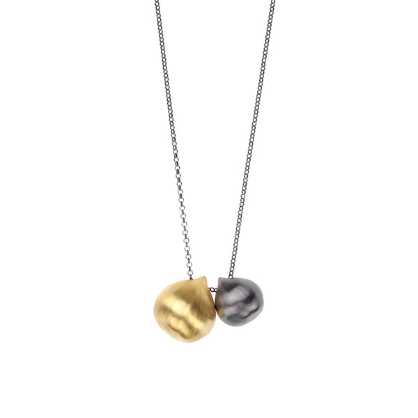 Double Chestnut Necklace <br> Gold plated and Black Plated