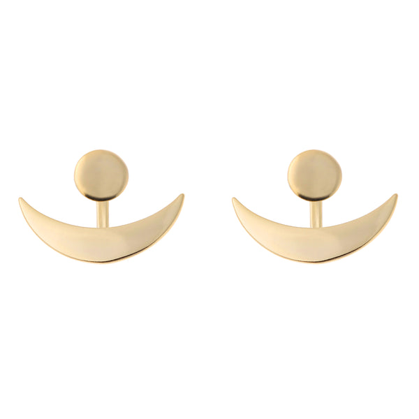 Horn Double Earrings<br>Gold Plated