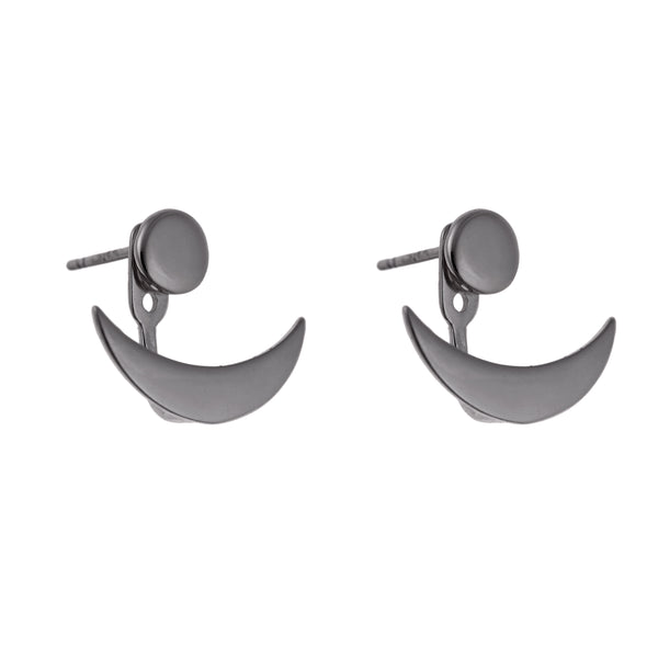 Horn Double Earrings<br>Black Plated