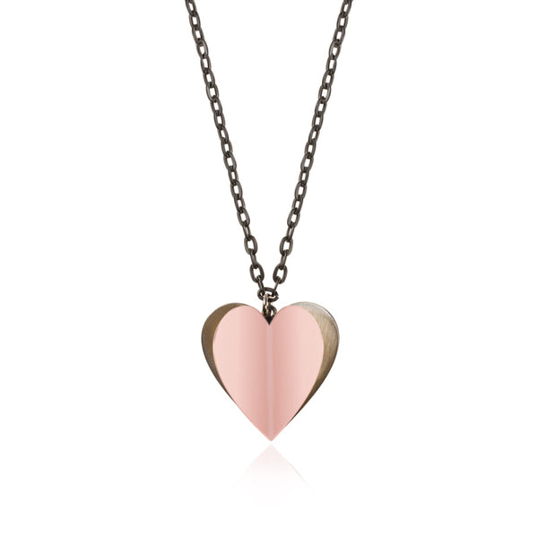 HEART Air Balloon Necklace<br> Pink Gold Plated