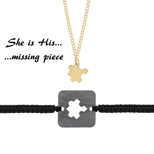 She is His missing piece <br> Gold Plated Necklace <br> & Black Plated Bracelet