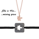 She is His missing piece <br> Pink gold plated Necklace <br>& Black plated Bracelet