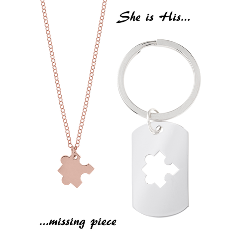 Puzzle Necklace for Her & <br> Keyring  for Him <br> Pink Gold Plated & Silver