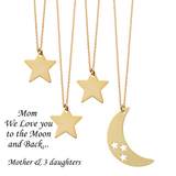 Mom We Love You to the Moon and Back <br> 4 Necklaces Gold Plated