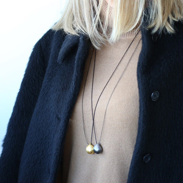 Chestnut Large Necklace <br> Black Plated