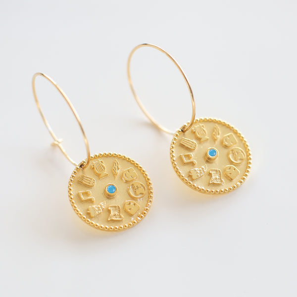 9 Muses Earrings turquoise<br>Gold Plated