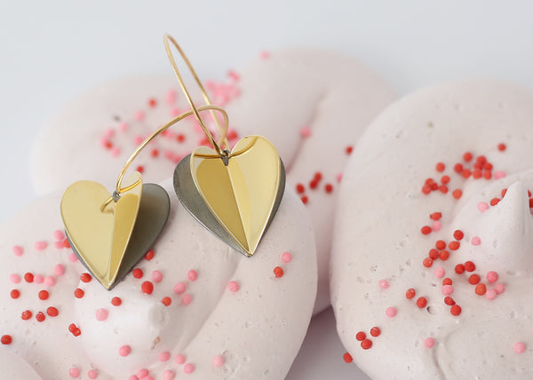 HEART Air Balloon Earrings <br> Gold Plated