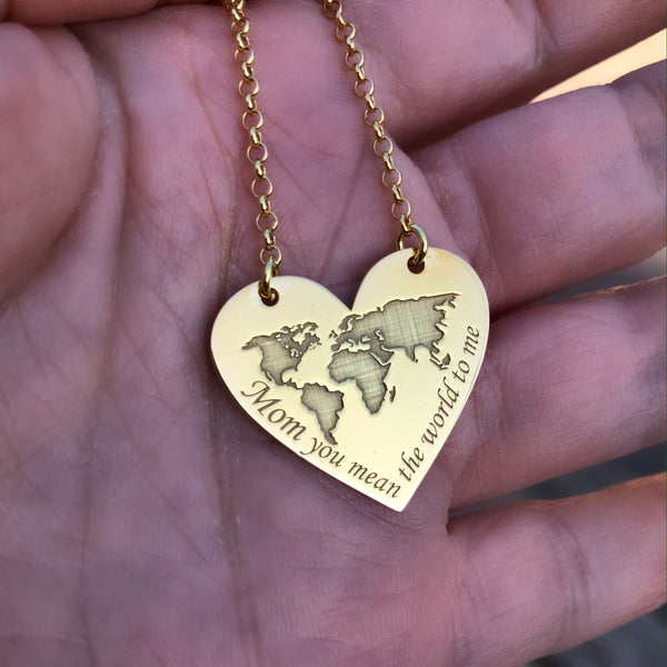'Mom you mean the World to me' Necklace