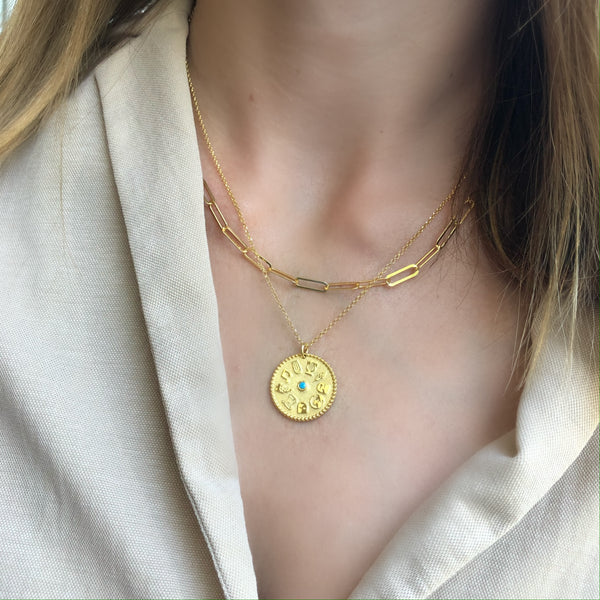 9 Muses Necklace turquoise<br> Gold Plated