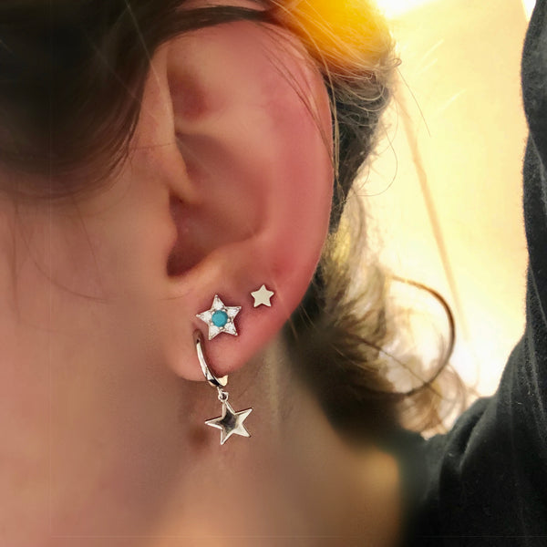 Star Turquoise Earrings silver<br>Σκουλαρίκια με αστεράκι
