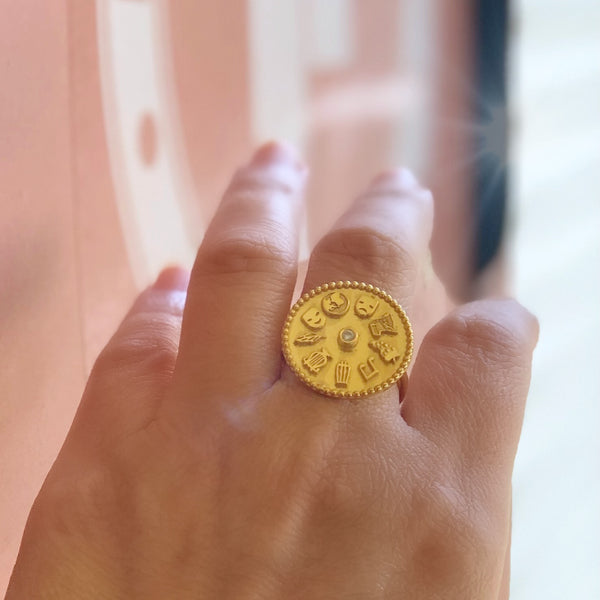 9 Muses Ring <br> Gold Plated