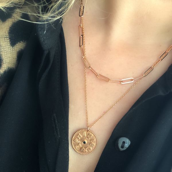 9 Muses Necklace <br> Pink Gold Plated