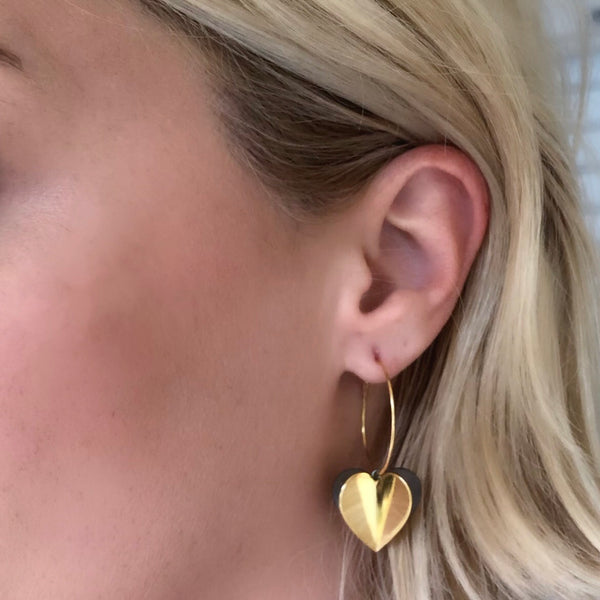 HEART Air Balloon Earrings <br> Gold Plated<br>Σκουλαρίκια Καρδιές