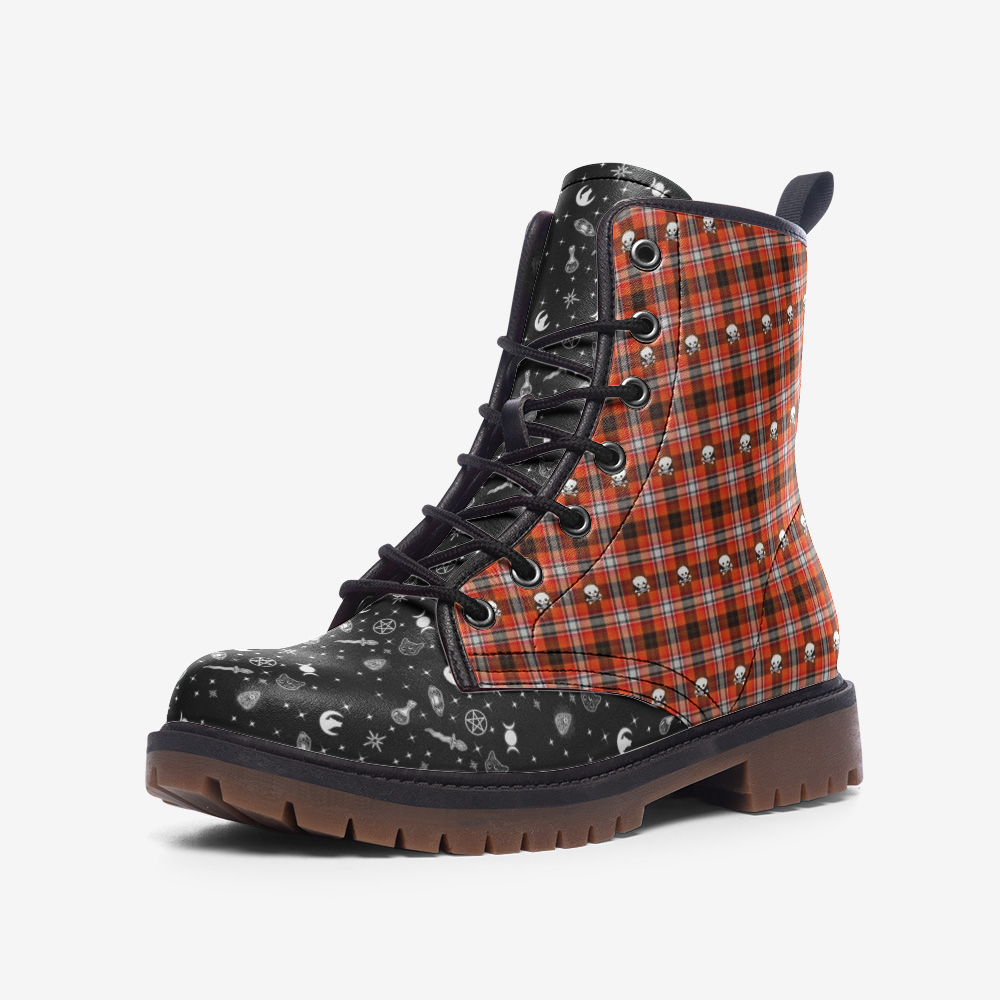 Emo Wolf & Kitty Wicca Plaid Casual Leather Lightweight Boots