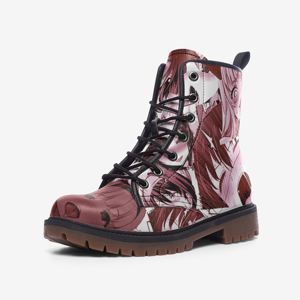 Red Ahegao Casual Leather Lightweight Boots