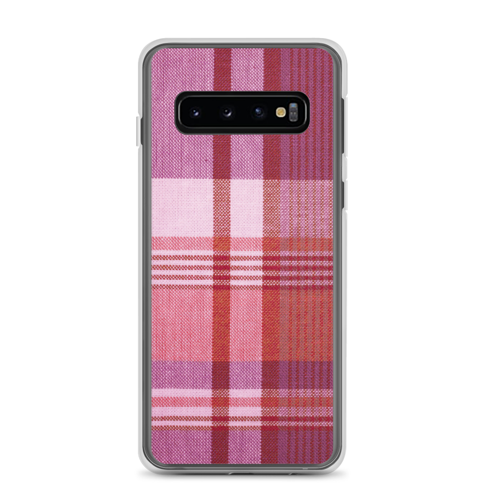 Magenta Red Plaid Samsung Case
