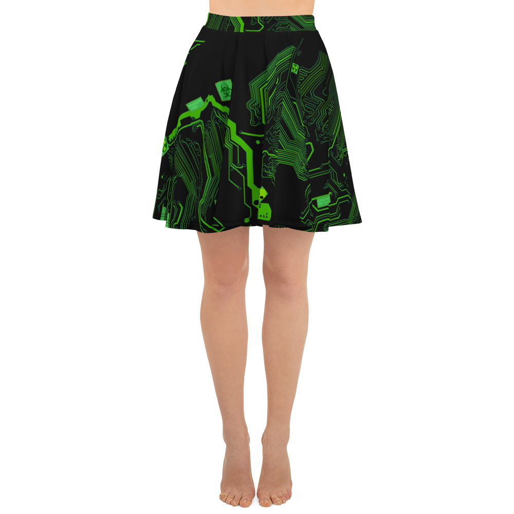 Cyberpunk Green Circuit Board Skater Skirt