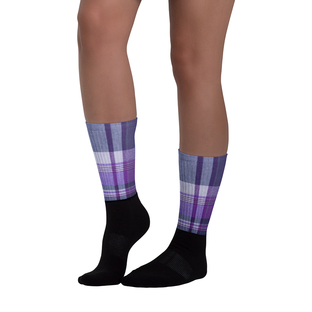 Purple Blue Plaid Socks