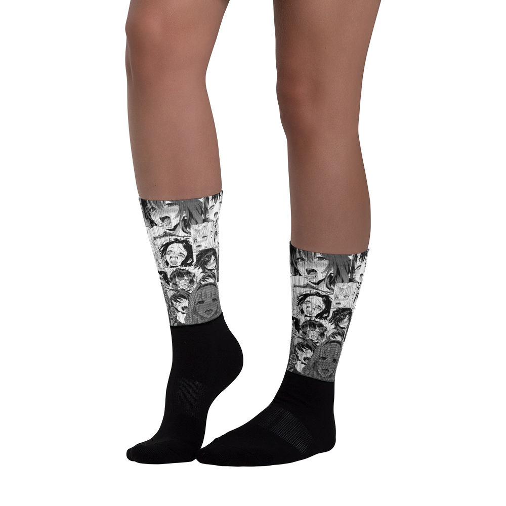 Black and White Ahegao Socks