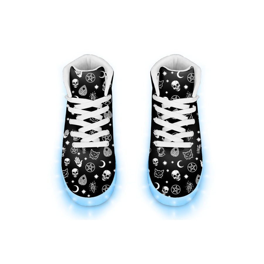 Emo Kitty Ouija Pentacle Light Up High Top Sneakers