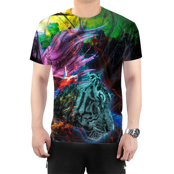Woke Space Tiger All Over Print T-Shirt