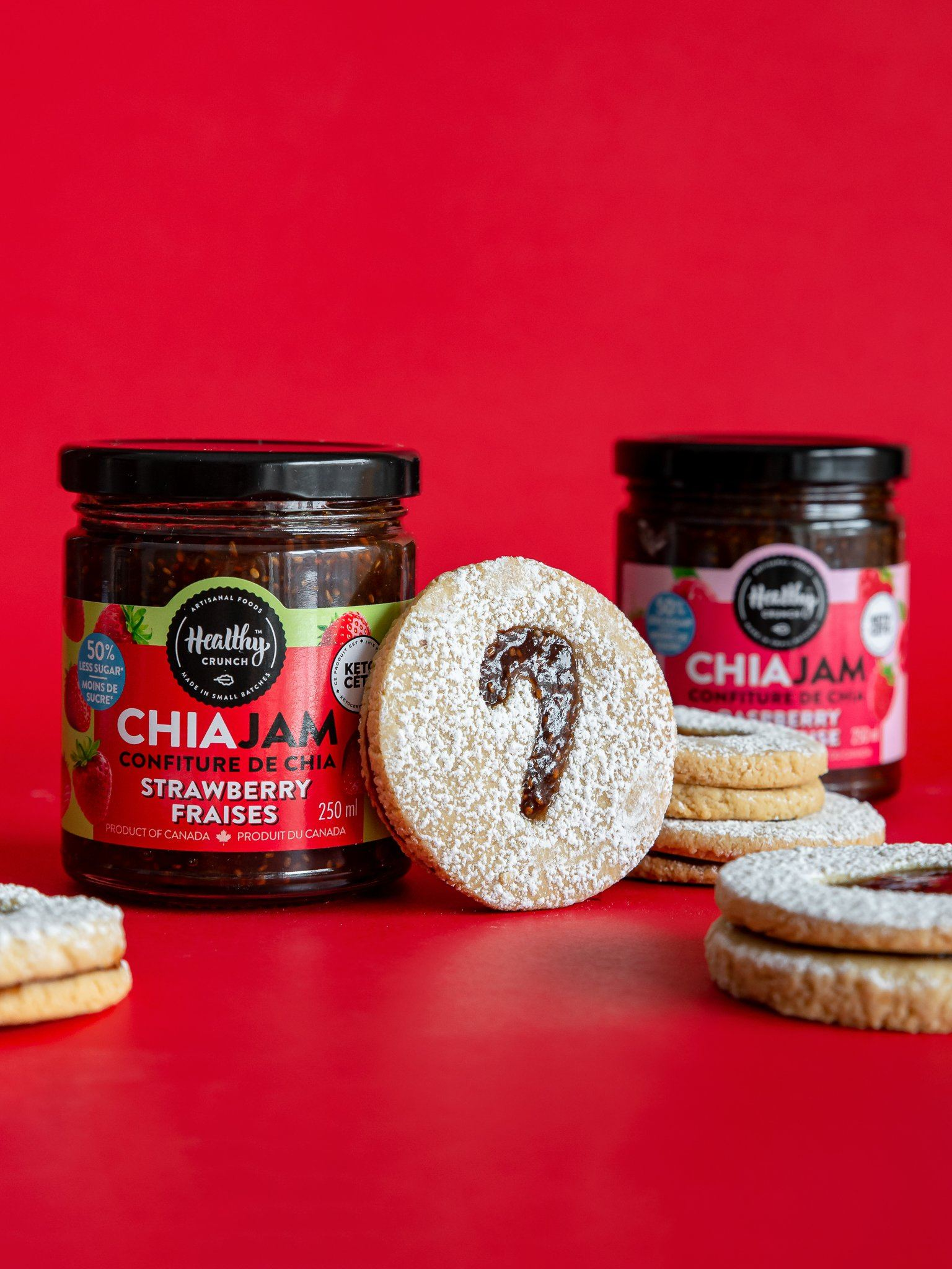 Chia Jam Christmas Cookies (Gluten-free, dairy-free, Vegan, Allergen-friendly)