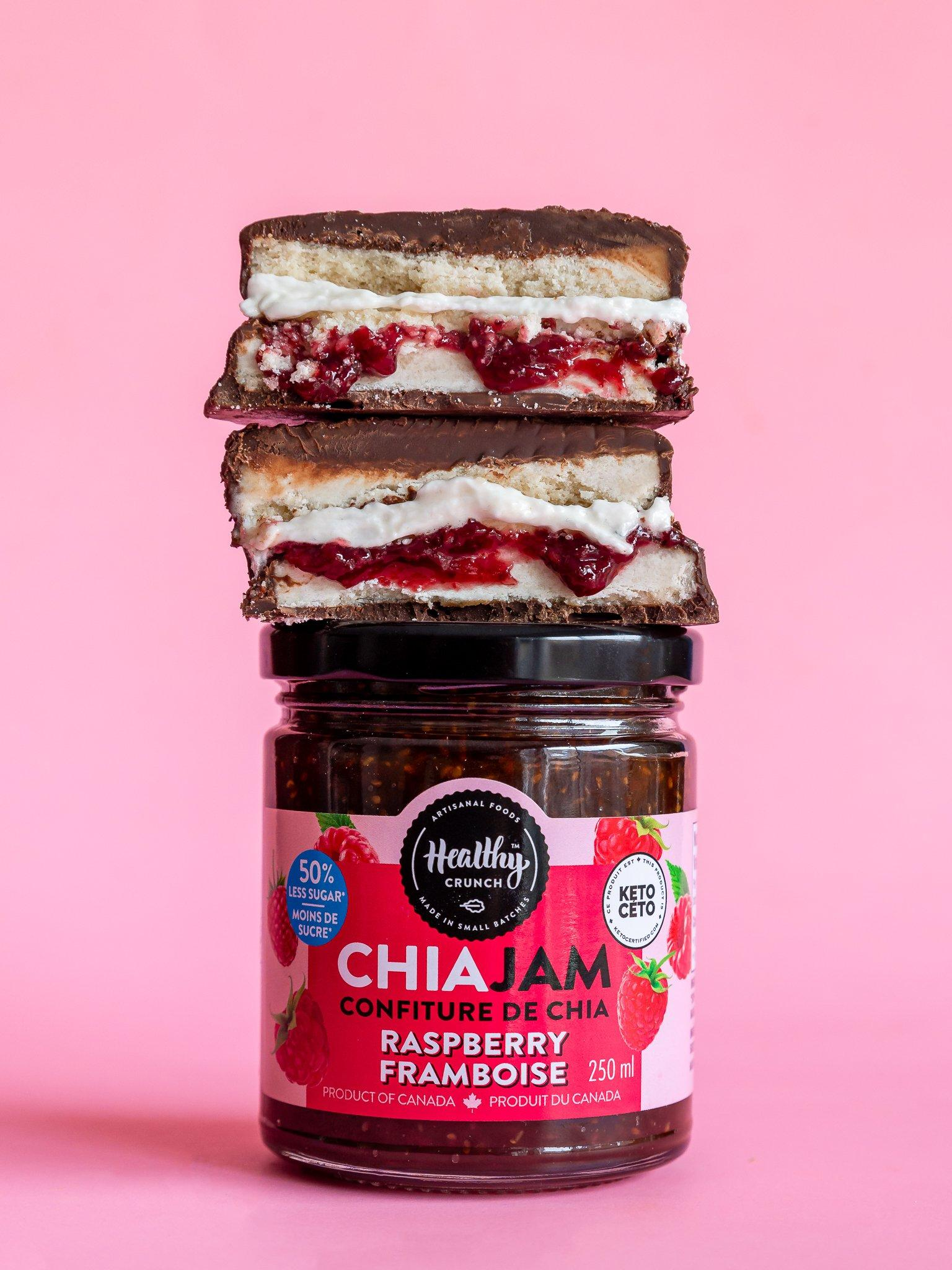 Chocolate Raspberry Chia Jam Sandwich (Gluten-free, Vegan, Allergen-friendly)