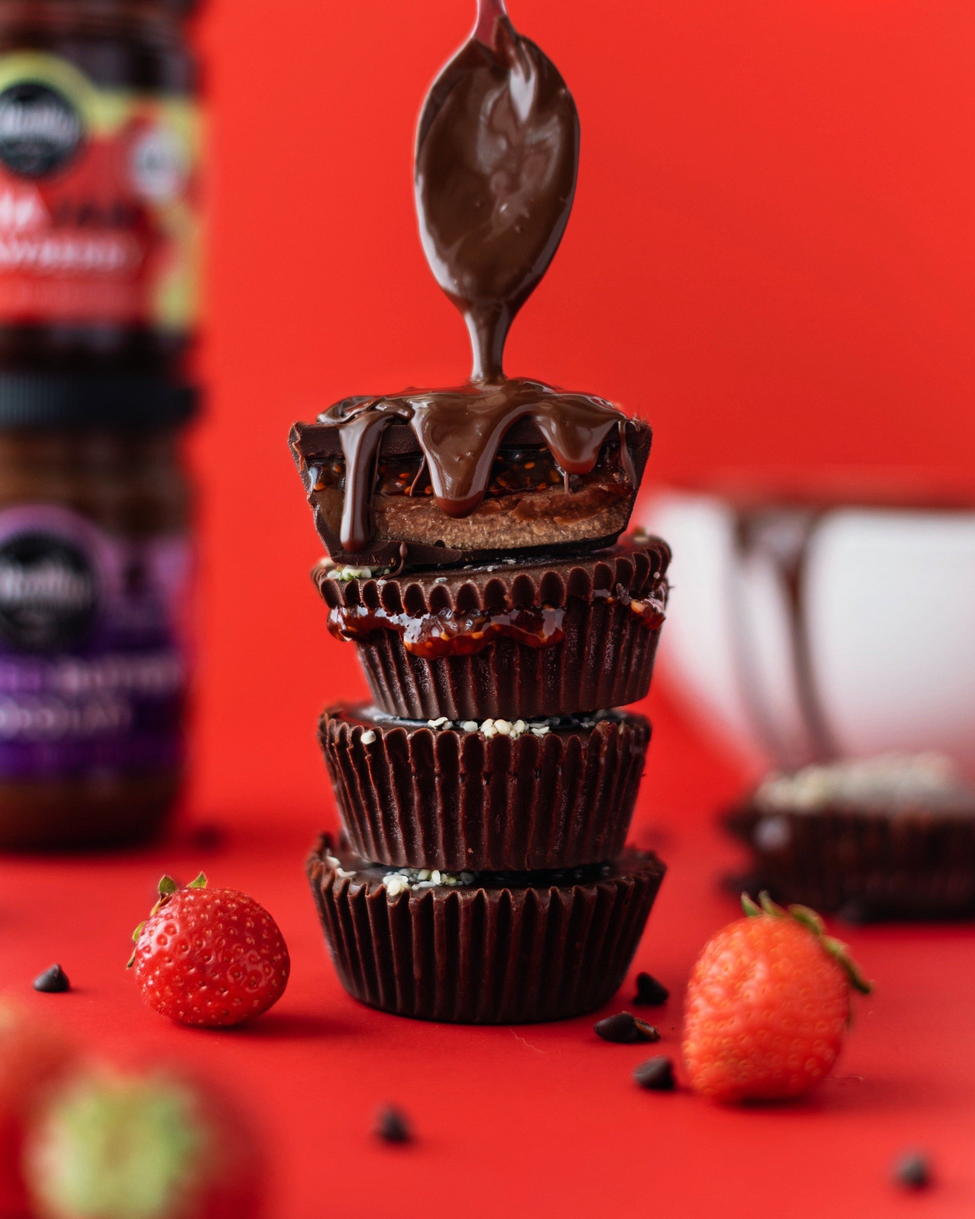 Strawberry Chia Jam Chocolate Cups (Keto, vegan, dairy-free, allergen-friendly)